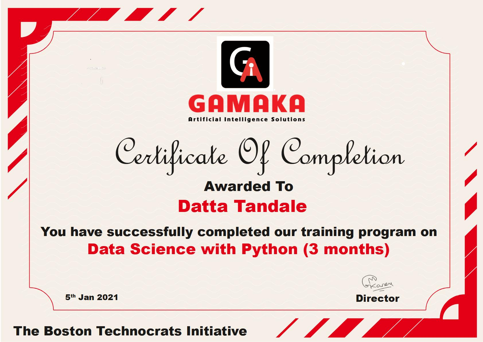 Gamaka AI - Data Science course in Pune